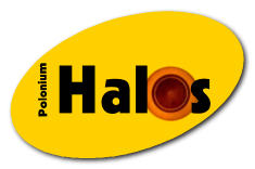 Logo shows magnified cross-section of a Polonium 218 halo in a granite rock. How did it get there? [halos.us]